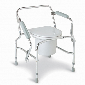 Drop Arm Commode Padded w/Wheels